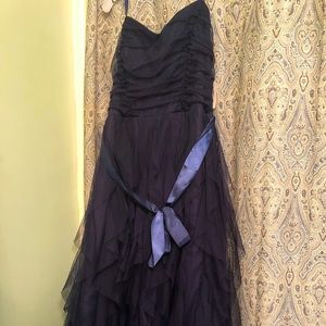 Strapless, Navy blue, ruffle prom/event dress gown